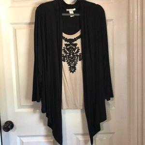 Black and tan shirt/cardigan combo